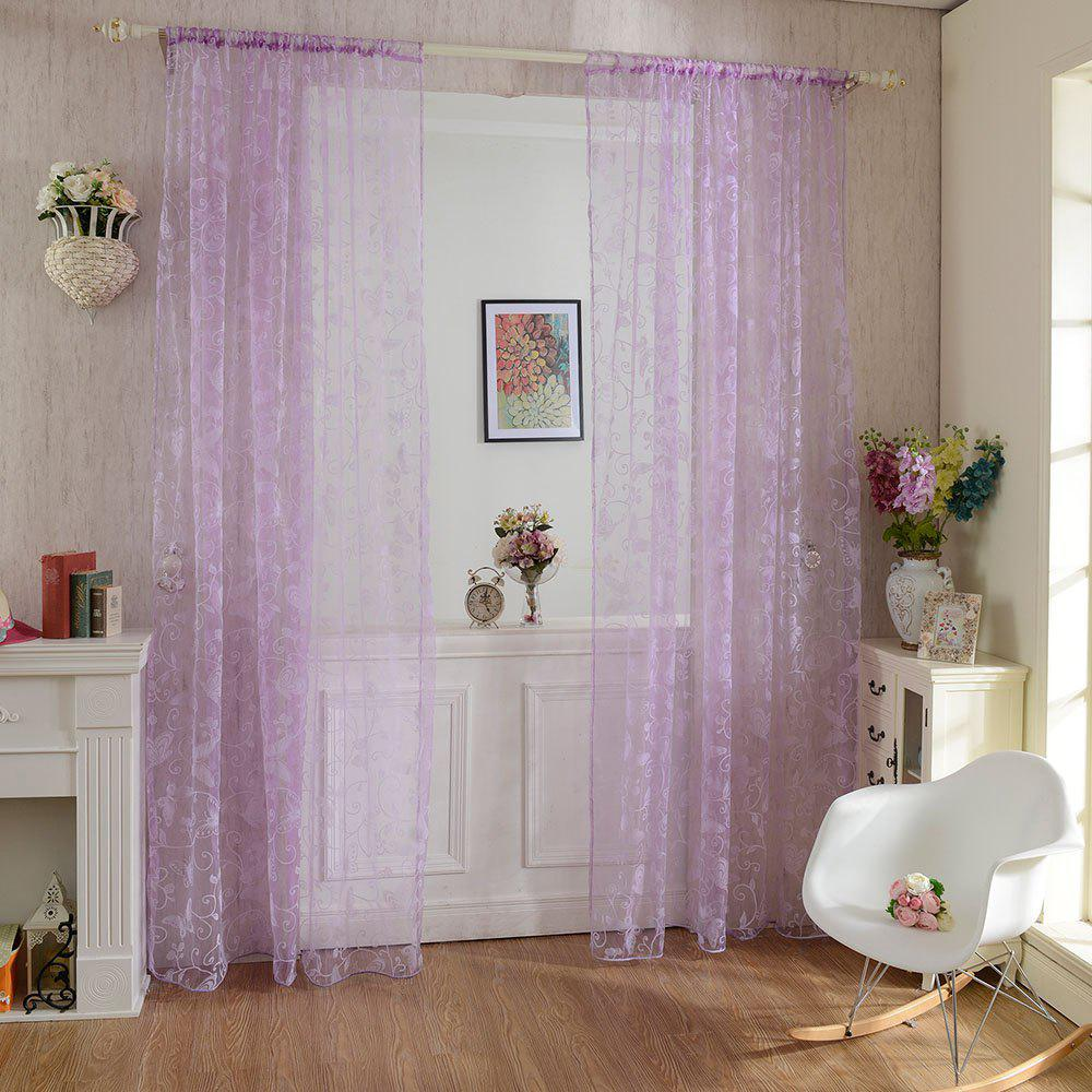 Multicolored Butterfly Flock Curtain Window Screen - LILAC 100X199CM