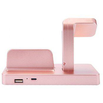 2-in-1 Smart Watch Charging Holder for Apple Watch Smart iPhone - ROSE GOLD