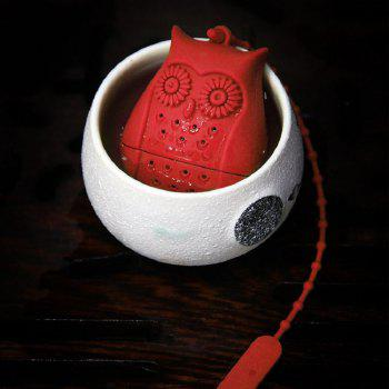 Silicone Cartoon Owl Shape Tea Strainer - RED