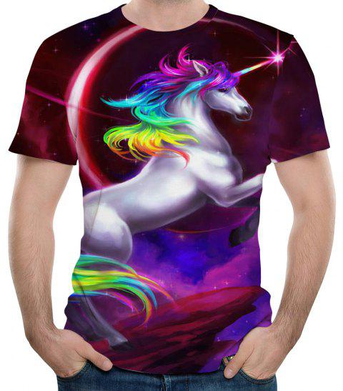2018 Summer Fashion 3D Printed Short-sleeve T-Shirt - multicolor A S