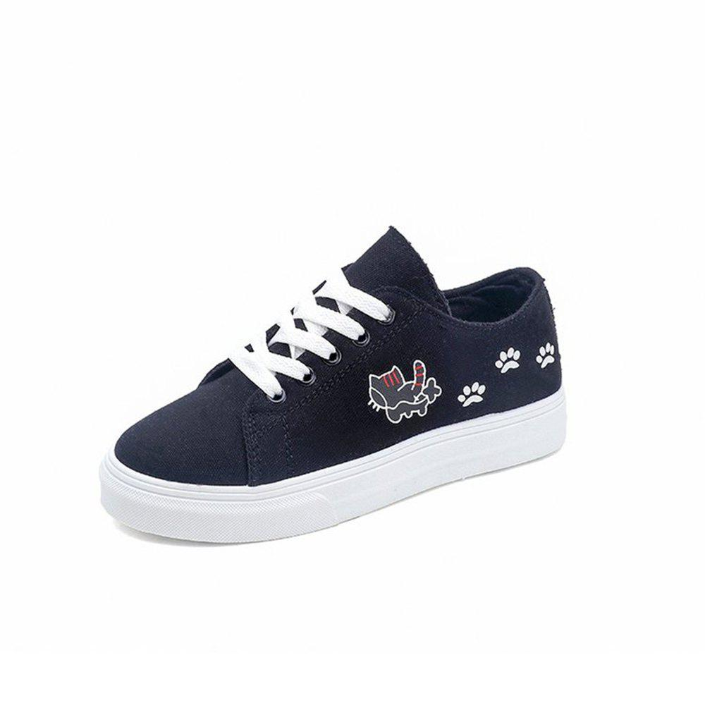 2018 New Sports Flat All-Match Canvas Shoes - BLACK 37