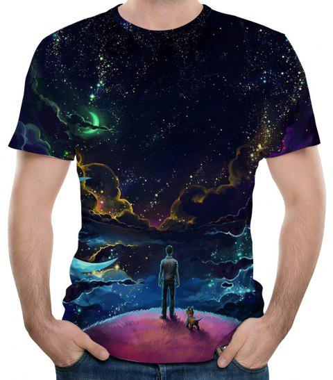 2018 New 3D Night Sky Print Men's Short Sleeve T-shirt - MIDNIGHT BLUE L