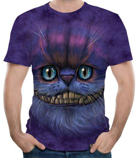 New 3D Print Summer Casual Men's Short Sleeve T-shirt - PURPLE MONSTER S