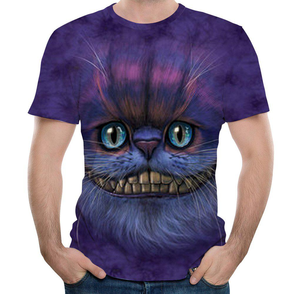 New 3D Print Summer Casual Men's Short Sleeve T-shirt - PURPLE MONSTER M