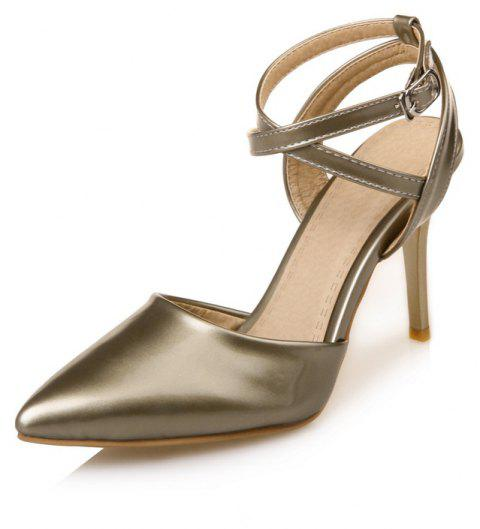 177e92d60f02 Women s Sandals Modern Stylish Chic Pure Patent Leather Pointed Toe High  Heel - GOLD 34