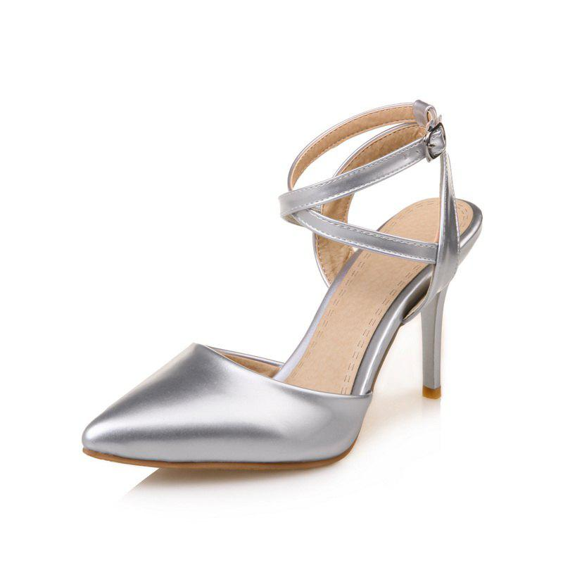Women's Sandals Modern Stylish Chic Pure Patent Leather Pointed Toe High Heel - SILVER 38
