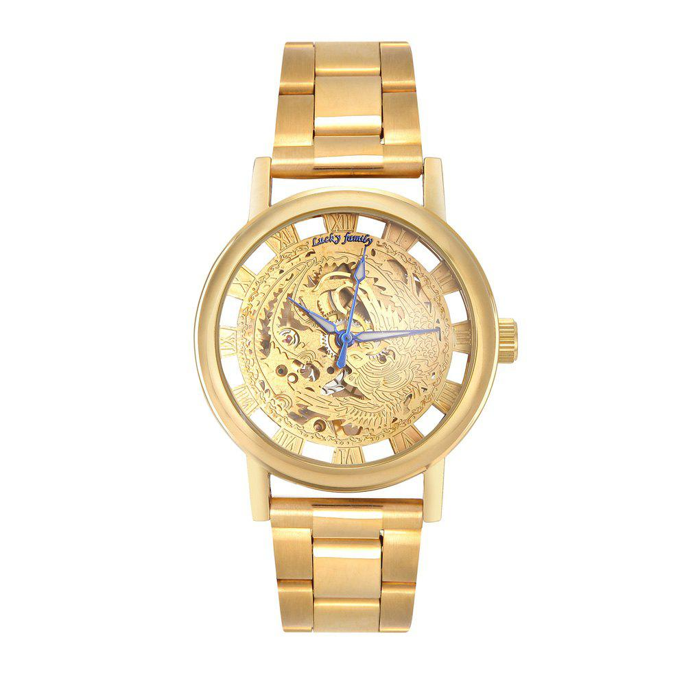Lucky Family G8111-2 Steel Belt Auspicious Phoenix Mechanical Watches - GOLDEN BROWN