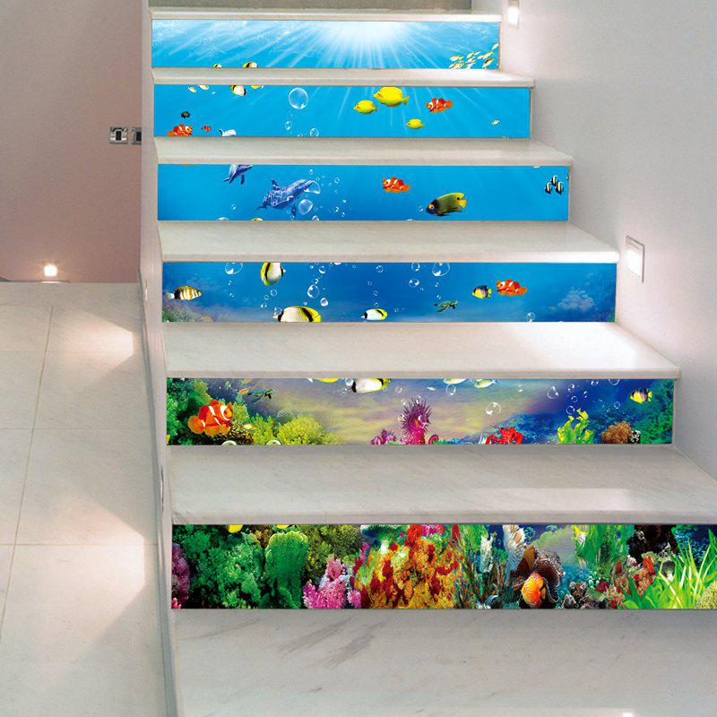 1 Set/6Pcs 3D Underwater World Stairs Sticker Fishes Coral Blue Ocean Decorative sea wave stairs sticker 6pcs