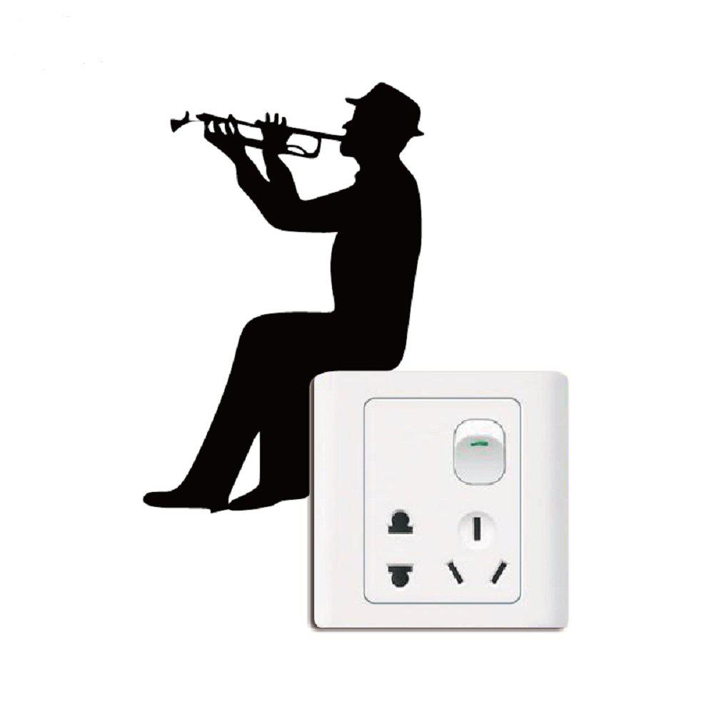 Music Silhouette Light Switch Sticker Trumpet Wall Decal Music Lover Home Decor family wall quote removable wall stickers home decal art mural