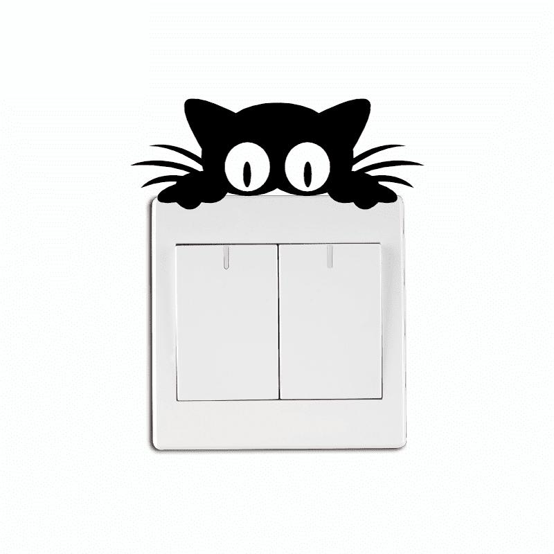 Cat Head Light Switch Sticker Funny Cartoon Animal Vinyl Wall Stickers For Kids 120pcs lot circular cursive writing thank you adhesive kraft seal sticker for baking gift label stickers funny diy work