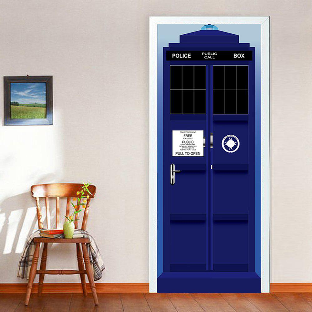 The Police Box Door Stickers 3D PVC Self-Adhesive Wallpaper Removable Door Decal 3m gold silvery brush pvc decorative vinyl self adhesive wallpaper household appliances kitchen cabinet wall stickers home decor