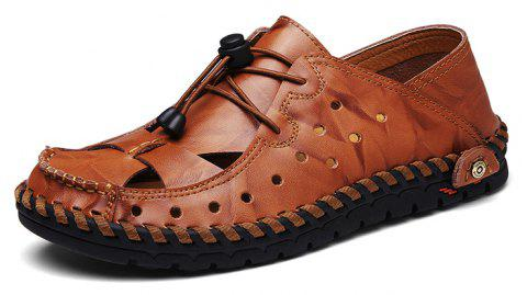 ZEACAVA Fashion Business Breathable Leather Shoes for Men - CHESTNUT RED 41