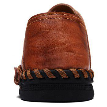 ZEACAVA Fashion Business Breathable Leather Shoes for Men - CHESTNUT RED 43
