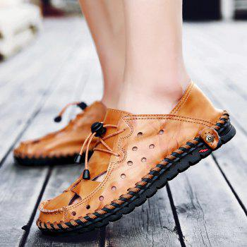 ZEACAVA Fashion Business Breathable Leather Shoes for Men - DEEP COFFEE 39