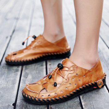 ZEACAVA Fashion Business Breathable Leather Shoes for Men - DEEP COFFEE 43