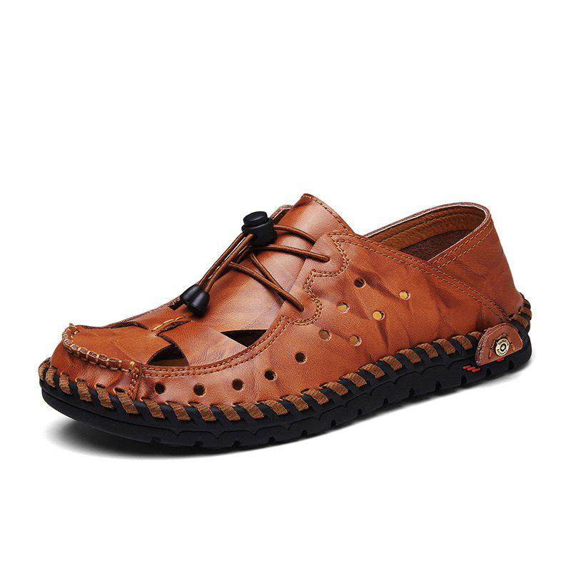 ZEACAVA Fashion Business Breathable Leather Shoes for Men - CHESTNUT RED 40