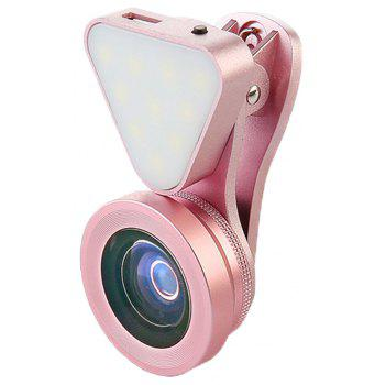 Fill Light 0.4X-0.6X Wide Angle  15X Macro 3 in 1 Phone Lens Camera Accessories - ROSE GOLD