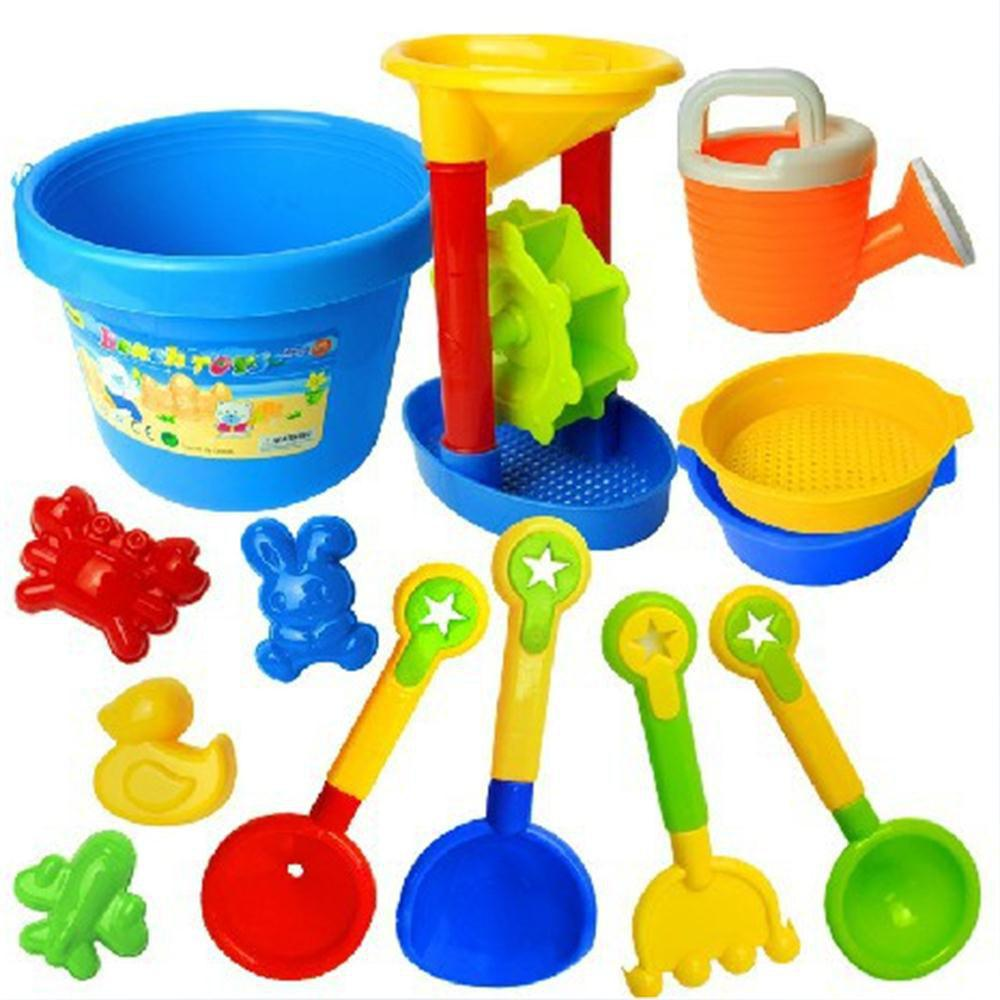 Children Beach Plastic Toys Dig Sand with 13 Pieces of Bath - multicolor