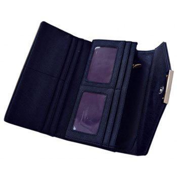 Ladies Fashion  Long PU Leather Clutch Purse Card Holder Wallet - BLACK HORIZONTAL