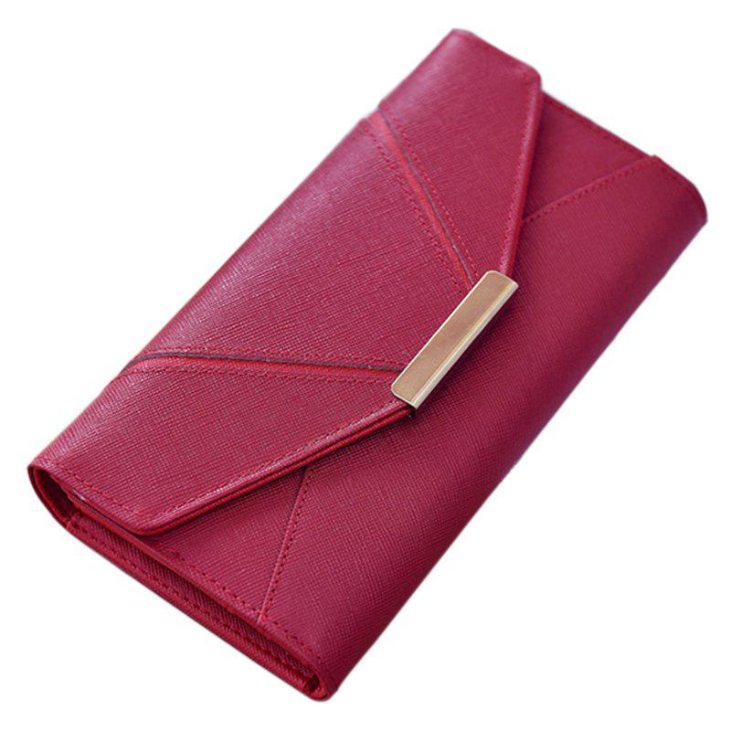 Ladies Fashion  Long PU Leather Clutch Purse Card Holder Wallet - RED HORIZONTAL