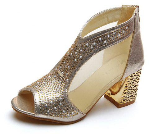 Women Leather Rivets Zipper Fish Mouth Rough With Thick High Heeled Sandals Shoe - GOLD 38