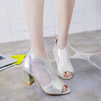 Women Leather Rivets Zipper Fish Mouth Rough With Thick High Heeled Sandals Shoe - SILVER 39