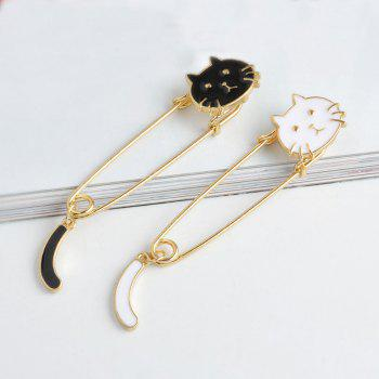 Kitten Wagged Tail Brooch Fashion Clothing Accessories - BLACK