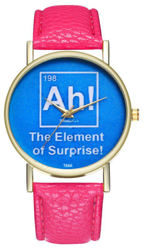 ZhouLianFa T366 Fashion Alphabet Pattern Litchi Quartz Watch - DEEP PINK