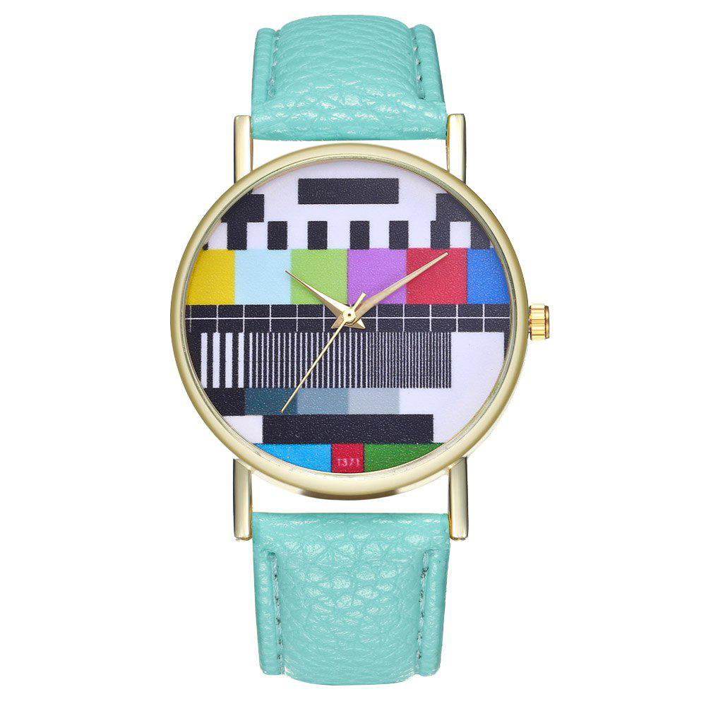 ZhouLianFa T371 Fashion Checkered Pattern Litchi Quartz Watch - MINT GREEN