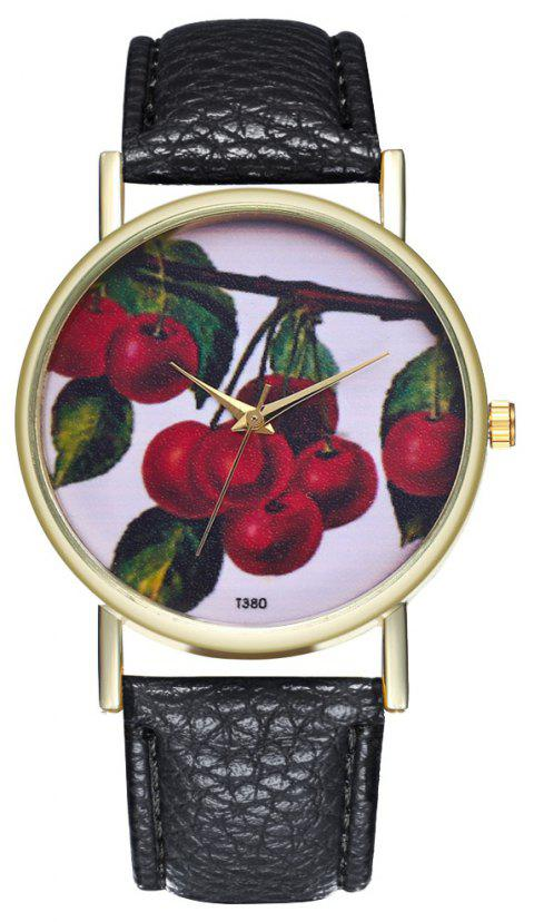 ZhouLianFa T380 Fashion Cherry Pattern Litchi Quartz Watch - BLACK