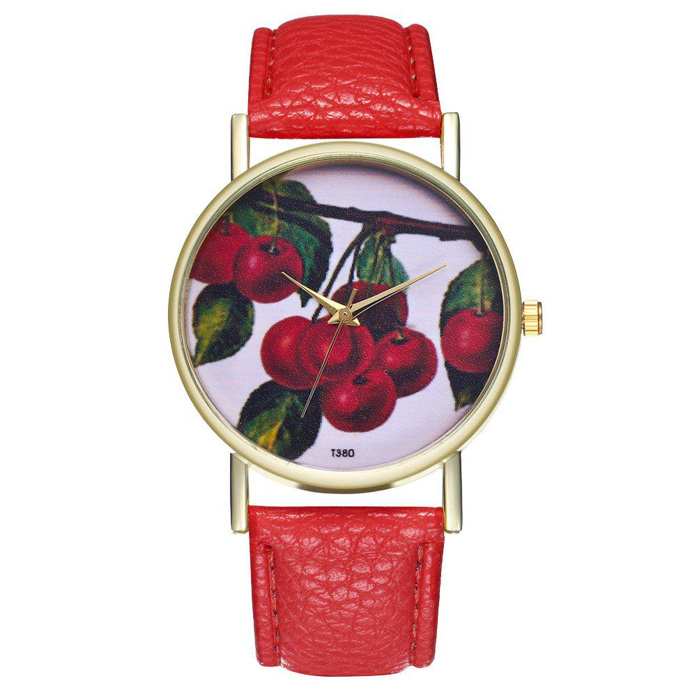 ZhouLianFa T380 Fashion Cherry Pattern Litchi Quartz Watch - RED