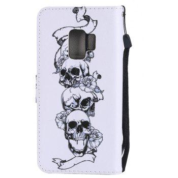 Filp Case for Samsung Galaxy S9 Skull Pattern Wallet Stand Cover - WHITE