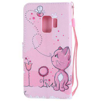 Filp Case for Samsung Galaxy S9 Cat and Bees Pattern Wallet Stand Cover - PINK