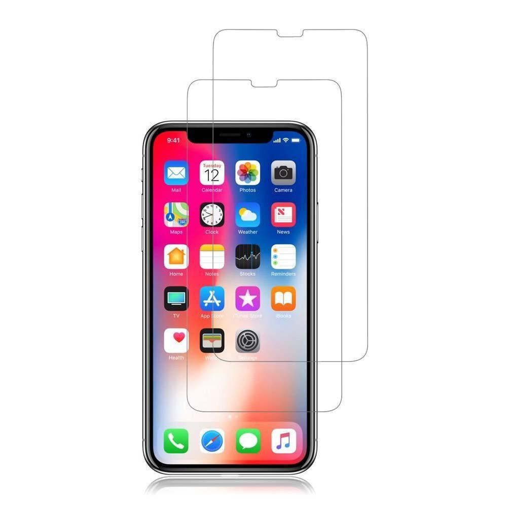 2x Plastic / Tempered Glass Screen Protector For iPhone X - TRANSPARENT