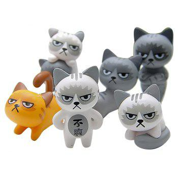 Super Cute Lovely Unhappy Cats Action Figure Toy Kids Gifts 6pcs - multicolor A