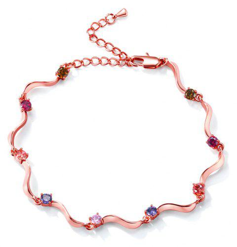 Fashion Wave S-shaped  Zircon Anklet JL0001 - multicolor B