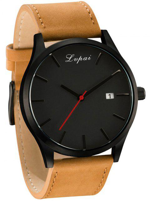Lvpai P066 Men's Fashion Casual Leather Wrist Watch - multicolor C