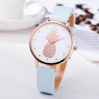 Fanteeda FD123 Women Pineapple Dial Leather Band Quartz Wrist Watch - BLUE ANGEL