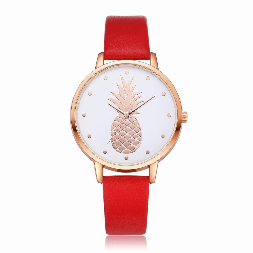 Fanteeda FD123 Women Pineapple Dial Leather Band Quartz Wrist Watch - RED
