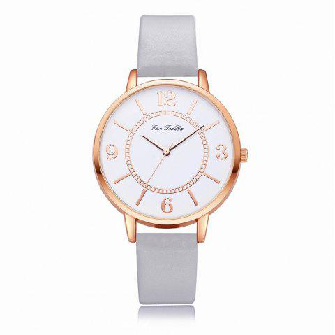Fanteeda FD133 Women Classic Leather Band Quartz Wrist Watch - GRAY CLOUD
