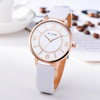 Fanteeda FD133 Women Classic Leather Band Quartz Wrist Watch - WHITE