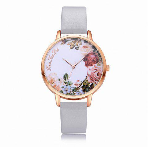 Fanteeda FD136 Women Classic Flowers Dial Leather Band Quartz Wrist Watch - GRAY CLOUD