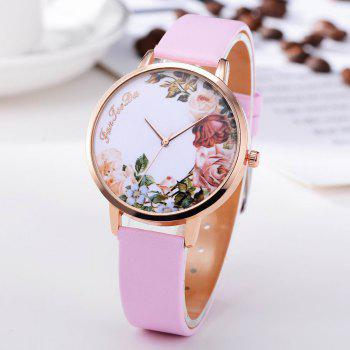 Fanteeda FD136 Women Classic Flowers Dial Leather Band Quartz Wrist Watch - PIG PINK