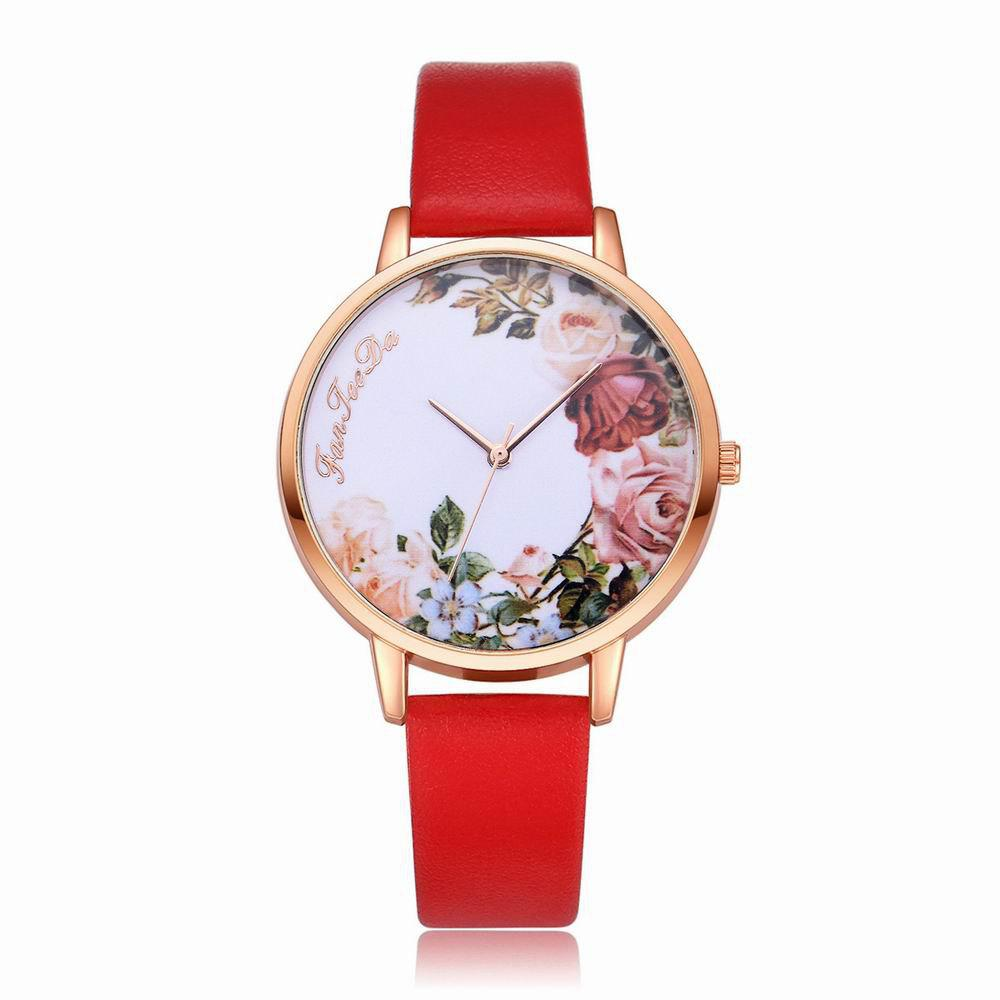 Fanteeda FD136 Women Classic Flowers Dial Leather Band Quartz Wrist Watch - RED