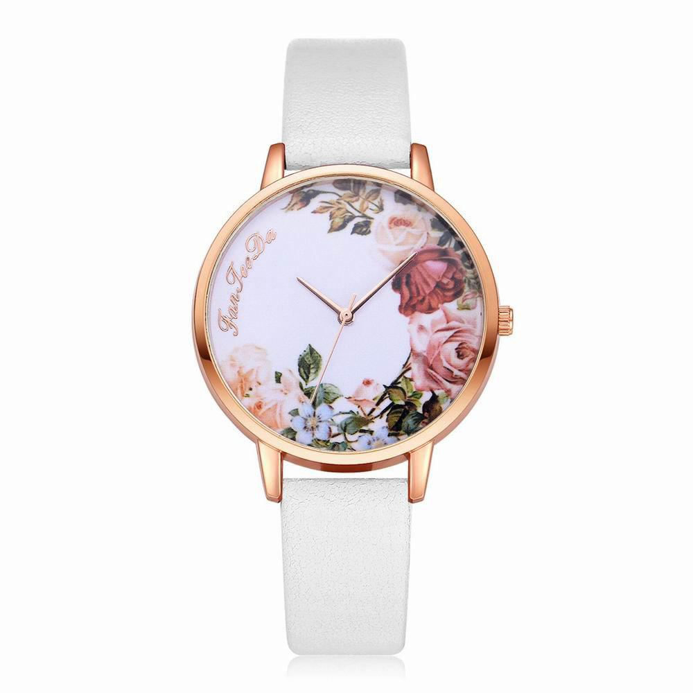 Fanteeda FD136 Women Classic Flowers Dial Leather Band Quartz Wrist Watch - WHITE