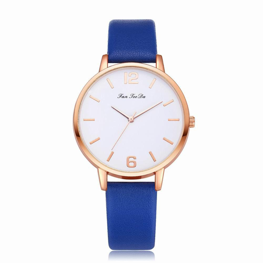 Fanteeda FD137 Women Classic Leather Band Quartz Wrist Watch - ROYAL BLUE
