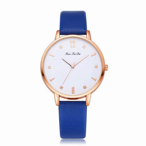 Fanteeda FD138 Women Classic Leather Band Quartz Wrist Watch - ROYAL BLUE