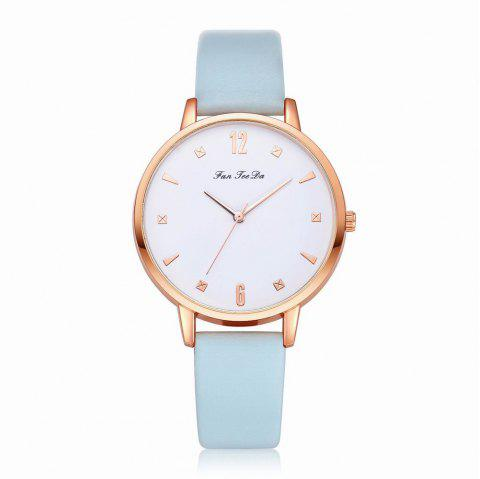 Fanteeda FD138 Women Classic Leather Band Quartz Wrist Watch - BLUE ANGEL