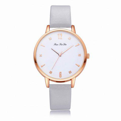 Fanteeda FD138 Women Classic Leather Band Quartz Wrist Watch - GRAY CLOUD