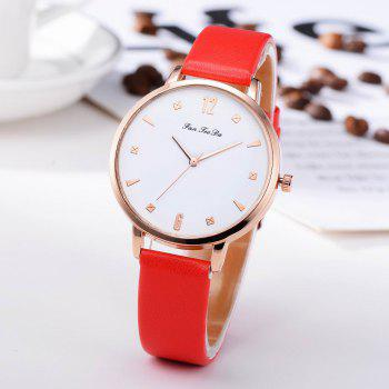 Fanteeda FD138 Women Classic Leather Band Quartz Wrist Watch - RED